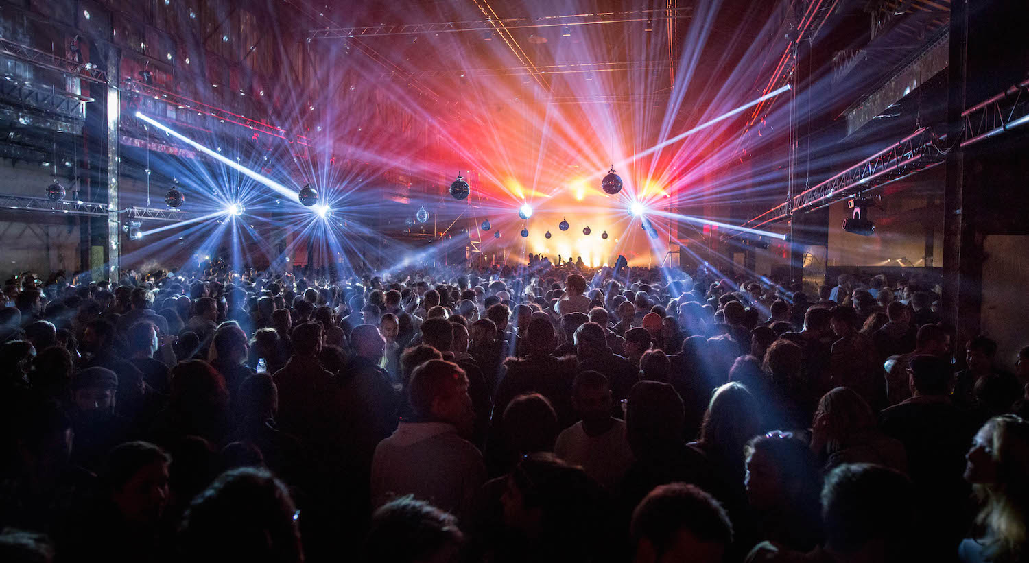 The crowd enjoys the show at Red Bull Music Academy stage during Nuits sonores festival in Lyon, France on May 15th 2015